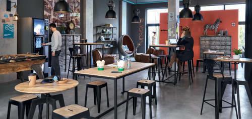 Mesa alta de comedor profesional con ruedas L.180