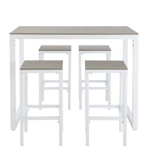 Mesa alta de jardín con 4 taburetes de aluminio L.128