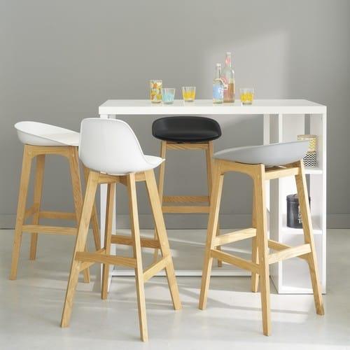 Mesa de comedor alta de madera blanca satinada An. 120 cm