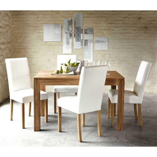 Mesa de comedor cuadrada de madera de maciza de palo rosa L.140