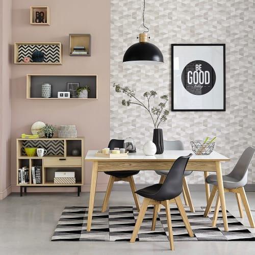 Mesa de comedor extensible blanca de 6 a 10 personas L.150/220