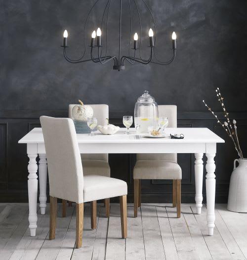 Mesa de comedor extensible de 6 a 8 personas blanca An. 160/200 cm