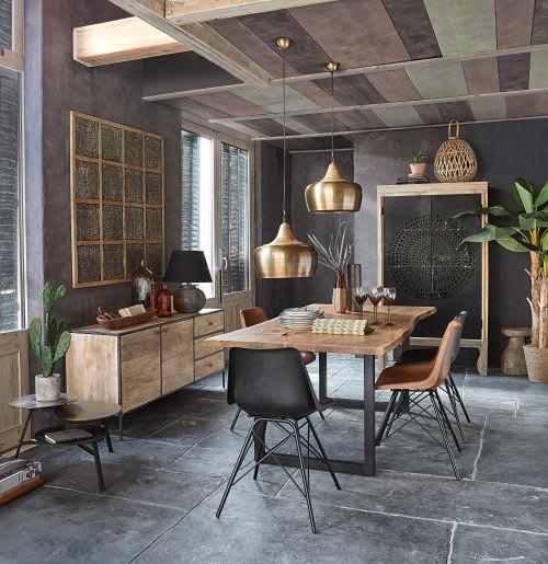 Mesa de comedor industrial de acacia y metal negro An.200