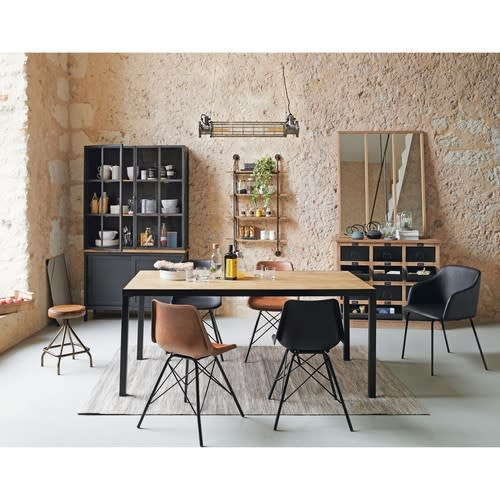 Mesa de comedor industrial para 8 personas de mango macizo An.180