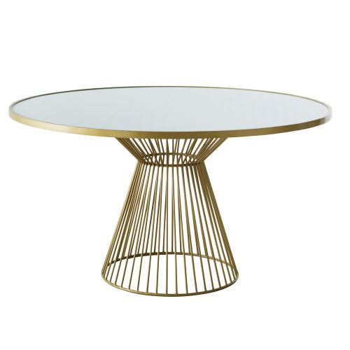 Mesa de comedor redonda de cristal blanqueado para 6 personas D.140