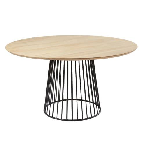 Mesa de comedor redonda de mango para 4/6 personas D.140