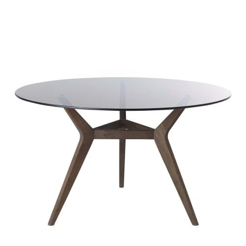 Mesa de comedor redonda para 4/6 personas de cristal y acacia