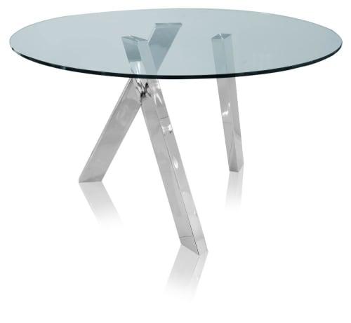 Mesa de comedor redonda para 4 personas de cristal y metal D.130