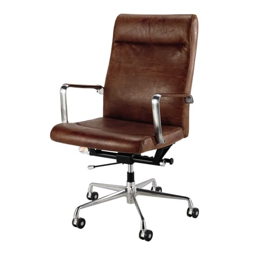 Terrific Metal And Brown Leather Office Chair On Wheels Maisons Du Monde Download Free Architecture Designs Sospemadebymaigaardcom
