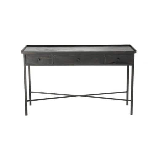 Metal industrial console table in black W 130cm
