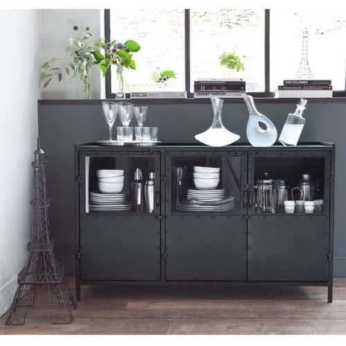 Metal Industrial Glazed Sideboard In Black W 130cm
