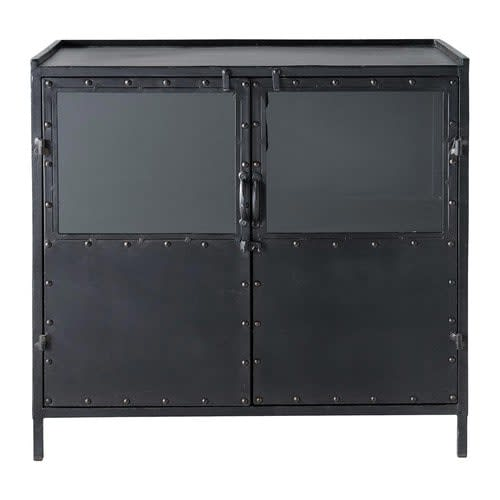 Metal Industrial Glazed Sideboard In Black W 87cm