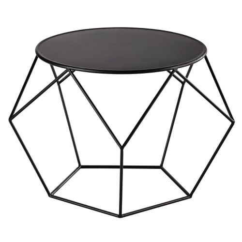 Metal Round Coffee Table In Black Maisons Du Monde