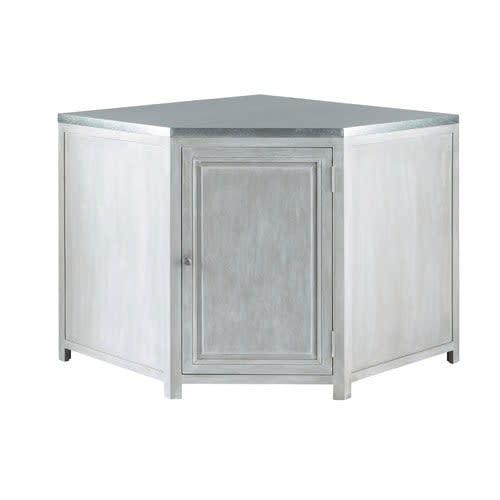 Moderne Meuble bas d'angle de cuisine en bois d'acacia gris L 99 cm Zinc WG-36