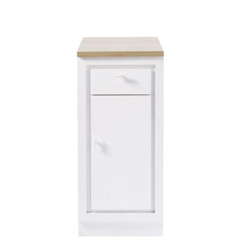 Meuble Bas Cuisine Blanc.Meuble Bas De Cuisine 1 Porte 1 Tiroir Blanc Maisons Du Monde