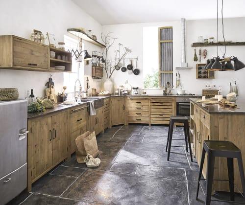 Meuble bas de cuisine 10 portes en pin recyclé effet vieilli  Maisons du  Monde
