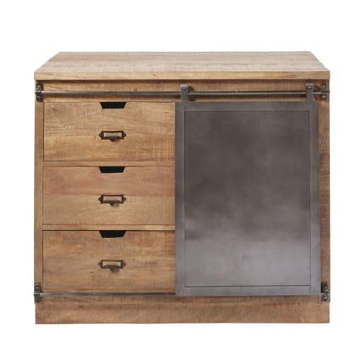 cuisine meuble bas meuble bas de cuisine 3 tiroirs 1 porte en manguier massif