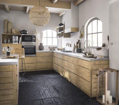 Meuble Bas De Cuisine 3 Tiroirs En Epicea Et Beton L80 Milos Maisons Du Monde