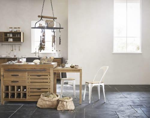 Meuble bas de cuisine pour évier 10 portes en pin recyclé effet vieilli   Maisons du Monde