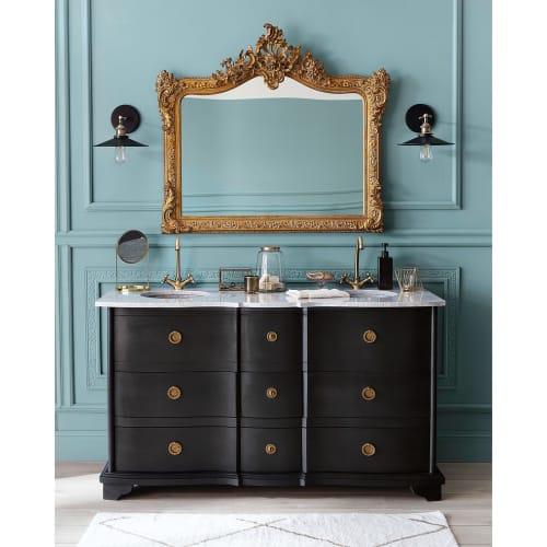 Meuble Double Vasque En Manguier Noir Et Pierre Eugenie Maisons