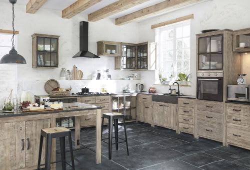 Meuble haut d\'angle de cuisine ouverture gauche en bois recyclé gris L 97 cm