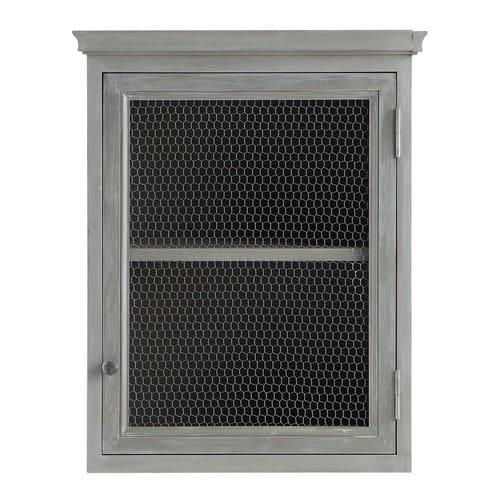 Meuble haut de cuisine ouverture gauche en bois d\'acacia gris L 60 cm