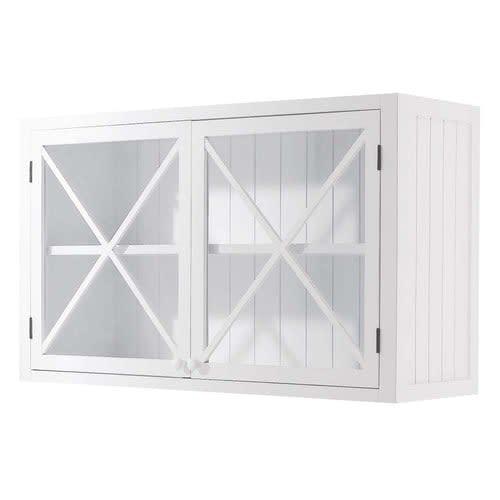 Meuble haut vitré de cuisine en pin blanc L120