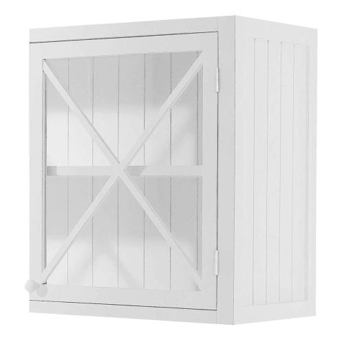 Meuble haut vitré de cuisine ouverture gauche en pin blanc L60