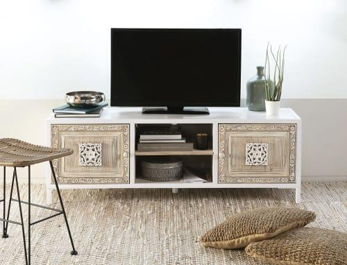 Meuble Tv 2 Portes En Metal Blanc Et Manguier Sculpte