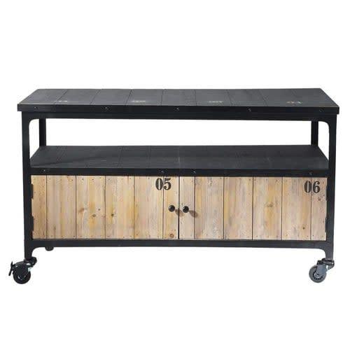 magasin d'usine 8975d 1da36 Meuble TV indus à roulettes en métal et sapin noir