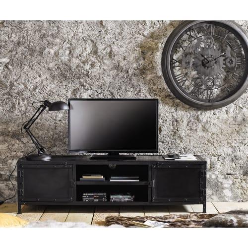 Meuble Tv Indus En Metal Noir Edison Maisons Du Monde