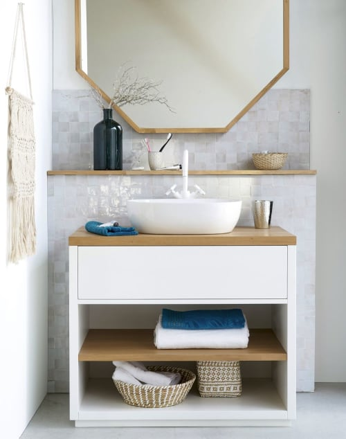 Meuble Vasque 1 Tiroir Blanc Austral Maisons Du Monde