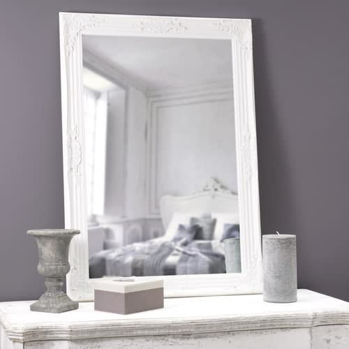 Miroir Blanc Maison Du Monde.Miroir Blanc En Paulownia 74x104