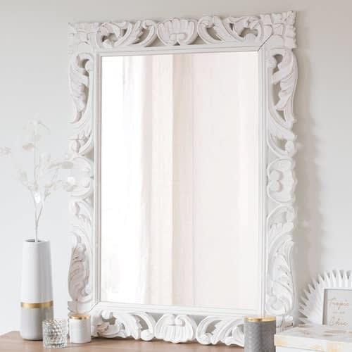 Miroir Blanc Maison Du Monde.Miroir En Manguier Blanc 70x96