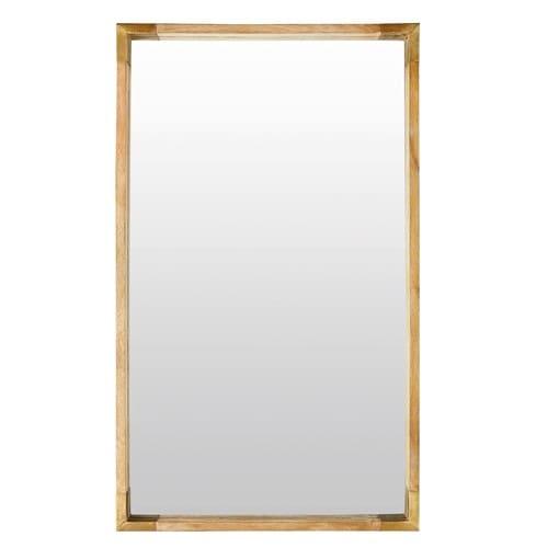Miroir En Manguier Et Métal Doré 69x120