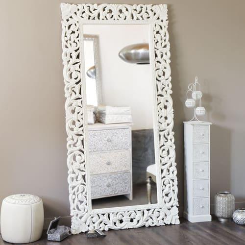 Miroir En Manguier Sculpté 90x180