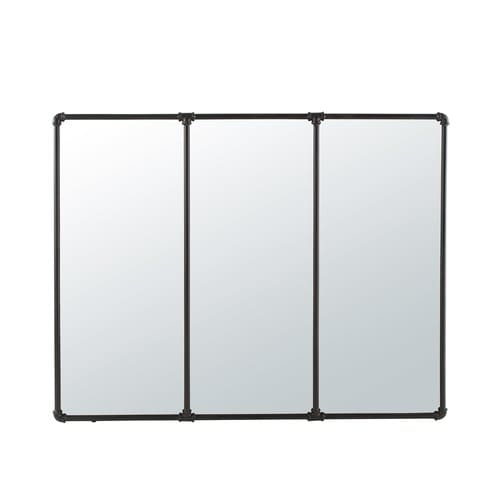 Miroir en métal noir 119x95