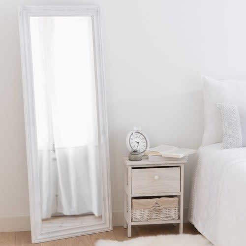Miroir Blanc Maison Du Monde.Miroir En Paulownia Blanc Vieilli 50x130