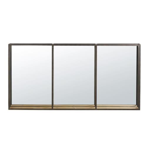 Fenêtre Miroir 119 cm métal Or Miroir Mural Vintage vestiaires miroir ancien