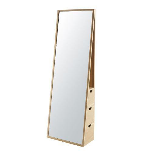 Miroir Psyché 3 Tiroirs En Chêne 55x165