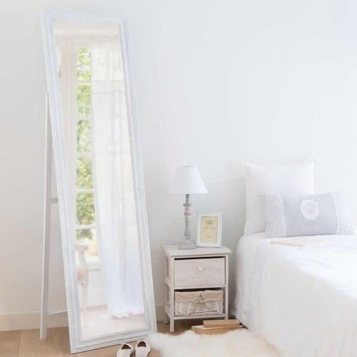 Miroir Blanc Maison Du Monde.Miroir Psyche En Paulownia Blanc Vieilli 50x170
