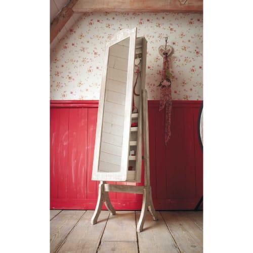 Miroir psyché porte-bijoux en paulownia blanchi 42x160