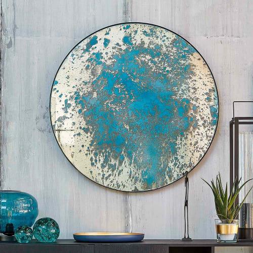 Miroir Rond Effet Peinture Bleue Et Metal Noir D100 Ava Maisons Du Monde