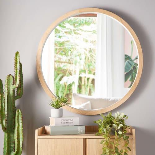 Miroir Blanc Maison Du Monde.Miroir Rond En Chene Blanc D100 Maisons Du Monde