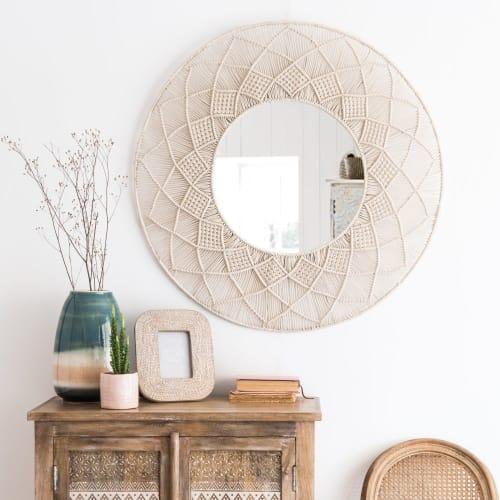 Miroir Blanc Maison Du Monde.Miroir Rond En Macrame Blanc D92 Maisons Du Monde