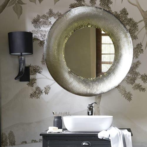 Miroir rond en m tal martel vieilli d85 navajo maisons du monde for Miroir metal vieilli