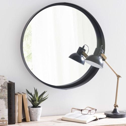 Miroir Rond En Métal Noir D60