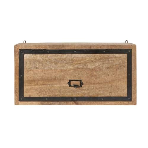 Mobile alto da cucina a 1 anta in legno massello di mango