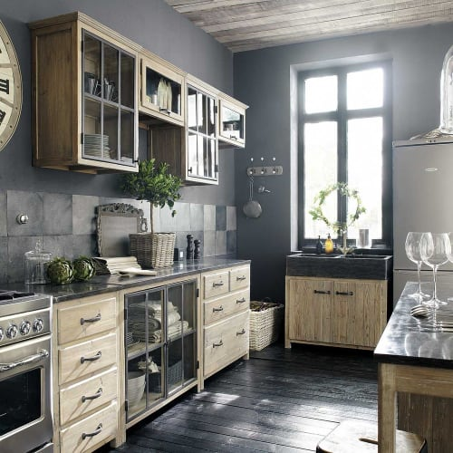 Mobile alto vetrato da cucina in legno riciclato con apertura a sinistra 60  cm