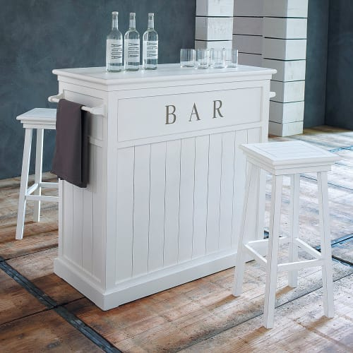 Angolo Bar Da Salotto Prezzi.Mobile Bar Bianco In Legno L 120 Cm Newport Maisons Du Monde